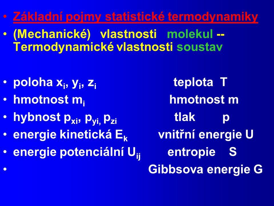 Základní pojmy statistické termodynamiky (Mechanické) vlastnosti molekul -- Termodynamické vlastnosti soustav poloha x i, y i, z i teplota T hmotnost m i hmotnost m hybnost p xi, p yi, p zi tlak p energie kinetická E k vnitřní energie U energie potenciální U ij entropie S Gibbsova energie G
