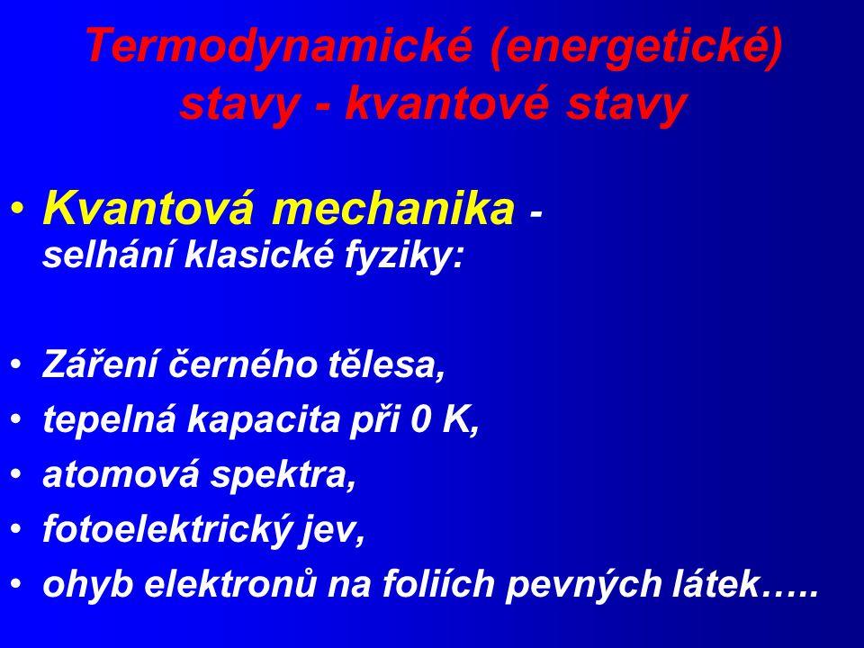 Termodynamické (energetické) stavy - kvantové stavy Kvantová mechanika - selhání klasické fyziky: Záření černého tělesa, tepelná kapacita při 0 K, atomová spektra, fotoelektrický jev, ohyb elektronů na foliích pevných látek…..