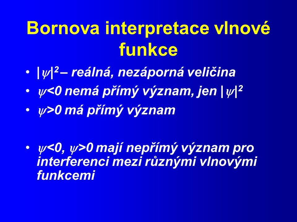 Bornova interpretace vlnové funkce |  | 2 – reálná, nezáporná veličina  <0 nemá přímý význam, jen |  | 2  >0 má přímý význam  0 mají nepřímý význam pro interferenci mezi různými vlnovými funkcemi