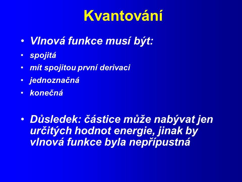 Kvantování Vlnová funkce musí být: spojitá mít spojitou první derivaci jednoznačná konečná Důsledek: částice může nabývat jen určitých hodnot energie, jinak by vlnová funkce byla nepřípustná