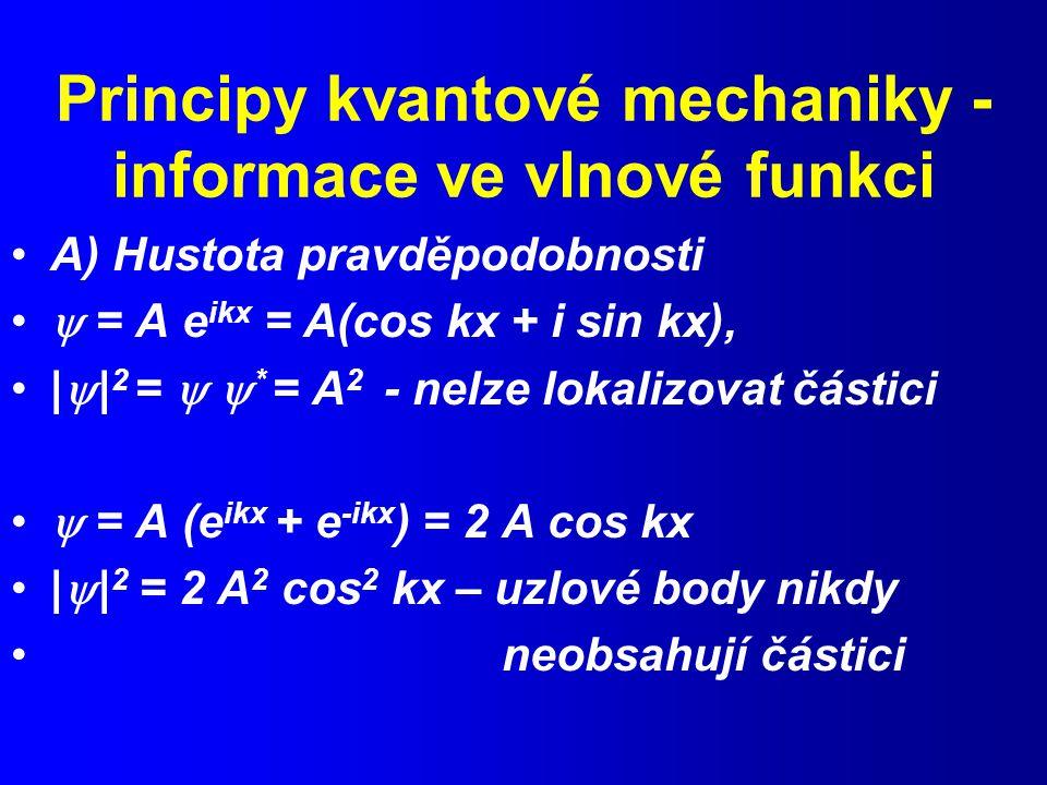 Principy kvantové mechaniky - informace ve vlnové funkci A) Hustota pravděpodobnosti  = A e ikx = A(cos kx + i sin kx), |  | 2 =   * = A 2 - nelze lokalizovat částici  = A (e ikx + e -ikx ) = 2 A cos kx |  | 2 = 2 A 2 cos 2 kx – uzlové body nikdy neobsahují částici