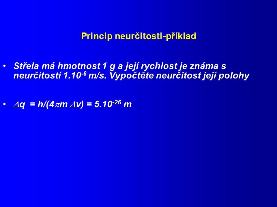 Princip neurčitosti-příklad Střela má hmotnost 1 g a její rychlost je známa s neurčitostí 1.10 -6 m/s.