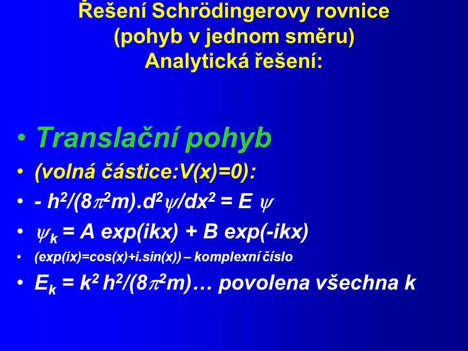 Řešení Schrödingerovy rovnice (pohyb v jednom směru) Analytická řešení: Translační pohyb (volná částice:V(x)=0): - h 2 /(8  2 m).d 2  /dx 2 = E   k = A exp(ikx) + B exp(-ikx) (exp(ix)=cos(x)+i.sin(x)) – komplexní číslo E k = k 2 h 2 /(8  2 m)… povolena všechna k