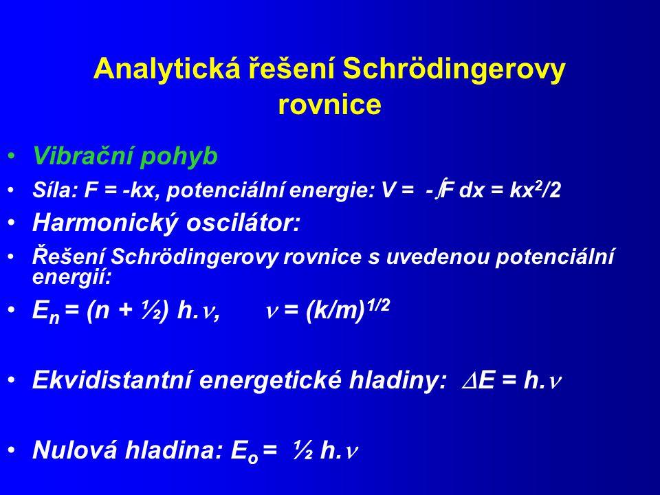 Analytická řešení Schrödingerovy rovnice Vibrační pohyb Síla: F = -kx, potenciální energie: V = -  F dx = kx 2 /2 Harmonický oscilátor: Řešení Schrödingerovy rovnice s uvedenou potenciální energií: E n = (n + ½) h., = (k/m) 1/2 Ekvidistantní energetické hladiny:  E = h.