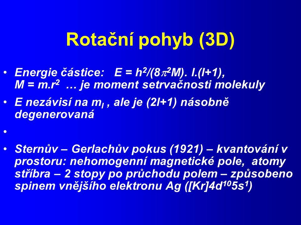 Rotační pohyb (3D) Energie částice: E = h 2 /(8  2 M).