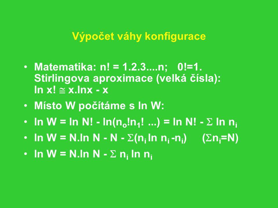 Výpočet váhy konfigurace Matematika: n.= 1.2.3....n; 0!=1.