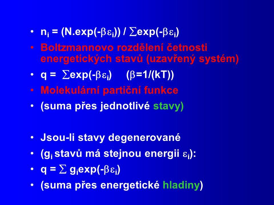 n i = (N.exp(-  i )) /  exp(-  i ) Boltzmannovo rozdělení četnosti energetických stavů (uzavřený systém) q =  exp(-  i ) (  =1/(kT)) Molekulární partiční funkce (suma přes jednotlivé stavy) Jsou-li stavy degenerované (g i stavů má stejnou energii  i ): q =  g i exp(-  i ) (suma přes energetické hladiny)