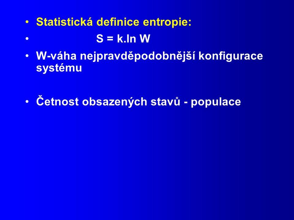 Statistická definice entropie: S = k.ln W W-váha nejpravděpodobnější konfigurace systému Četnost obsazených stavů - populace