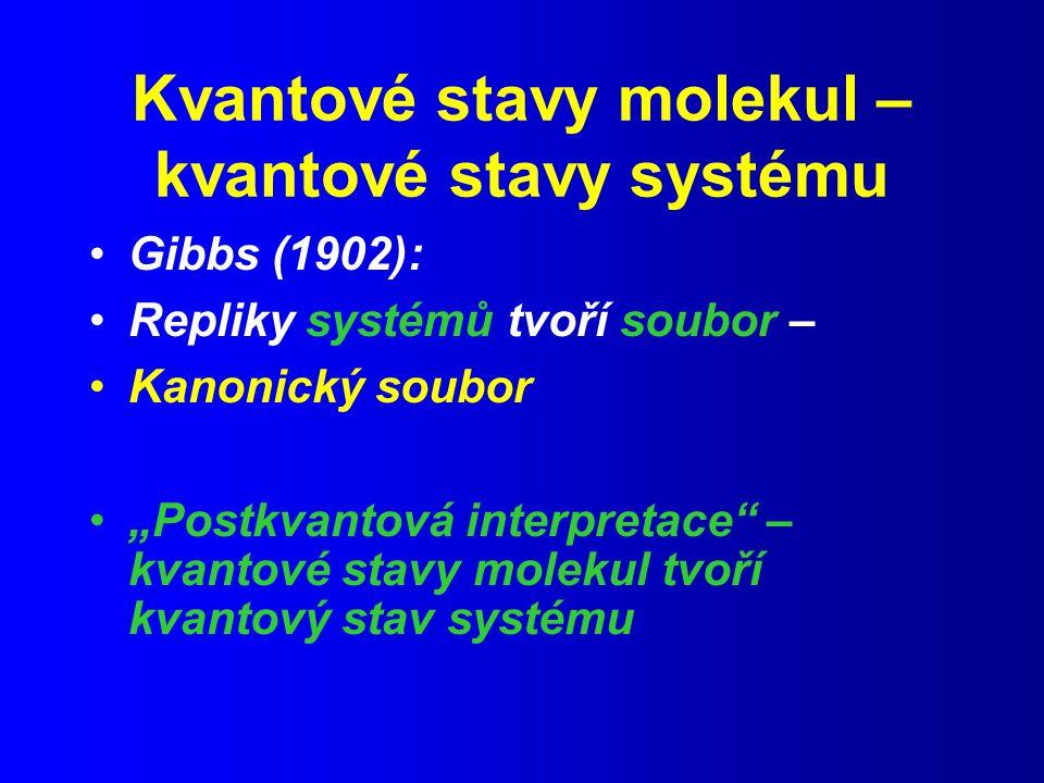 """Kvantové stavy molekul – kvantové stavy systému Gibbs (1902): Repliky systémů tvoří soubor – Kanonický soubor """"Postkvantová interpretace – kvantové stavy molekul tvoří kvantový stav systému"""