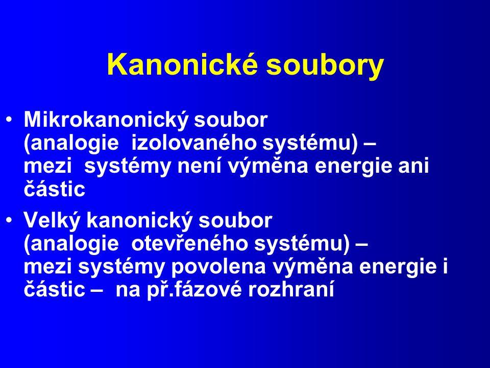 Kanonické soubory Mikrokanonický soubor (analogie izolovaného systému) – mezi systémy není výměna energie ani částic Velký kanonický soubor (analogie otevřeného systému) – mezi systémy povolena výměna energie i částic – na př.fázové rozhraní
