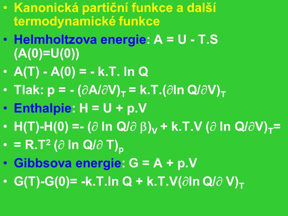 Kanonická partiční funkce a další termodynamické funkce Helmholtzova energie: A = U - T.S (A(0)=U(0)) A(T) - A(0) = - k.T.