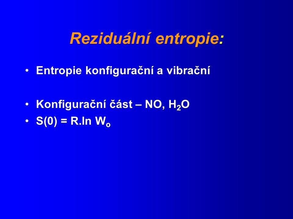 Reziduální entropie: Entropie konfigurační a vibrační Konfigurační část – NO, H 2 O S(0) = R.ln W o