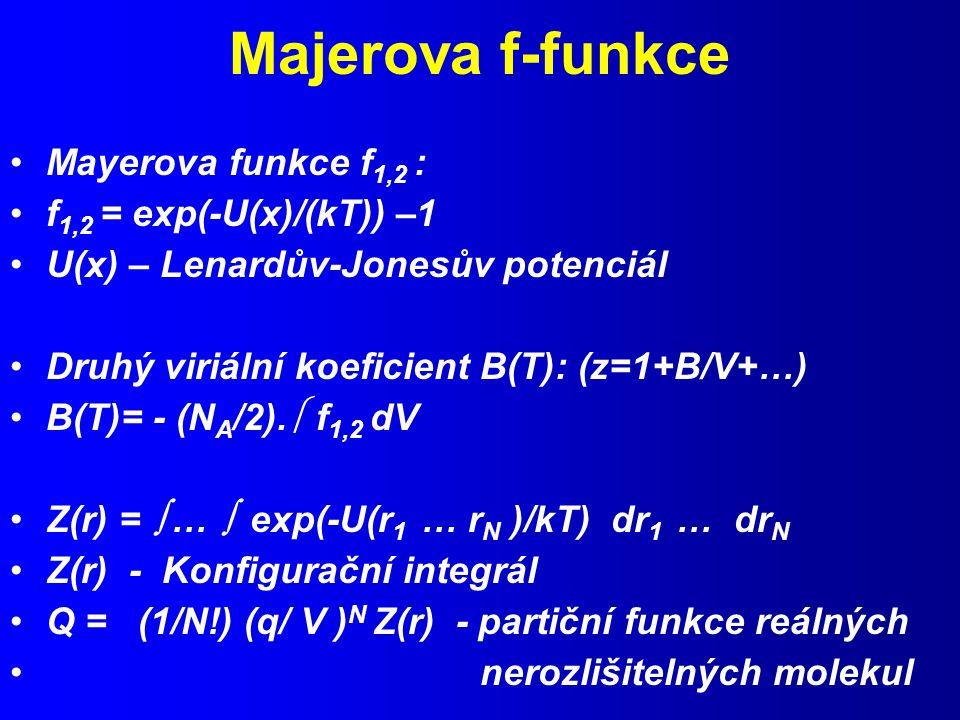 Majerova f-funkce Mayerova funkce f 1,2 : f 1,2 = exp(-U(x)/(kT)) –1 U(x) – Lenardův-Jonesův potenciál Druhý viriální koeficient B(T): (z=1+B/V+…) B(T)= - (N A /2).