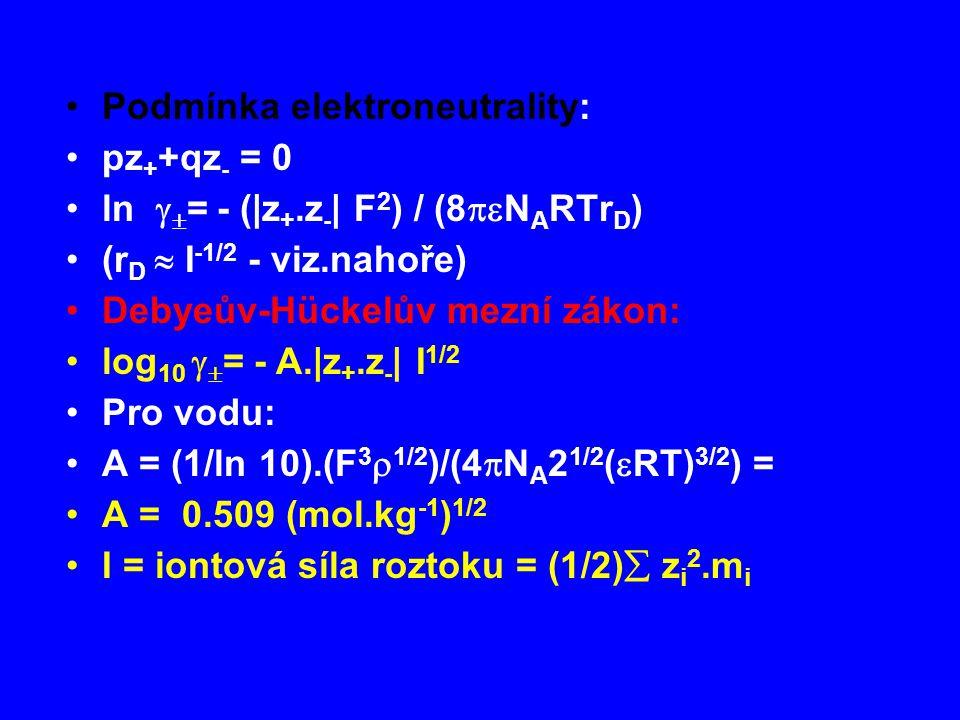 Podmínka elektroneutrality: pz + +qz - = 0 ln   = - (|z +.z - | F 2 ) / (8  N A RTr D ) (r D  I -1/2 - viz.nahoře) Debyeův-Hückelův mezní zákon: log 10   = - A.|z +.z - | I 1/2 Pro vodu: A = (1/ln 10).(F 3  1/2 )/(4  N A 2 1/2 (  RT) 3/2 ) = A = 0.509 (mol.kg -1 ) 1/2 I = iontová síla roztoku = (1/2)  z i 2.m i