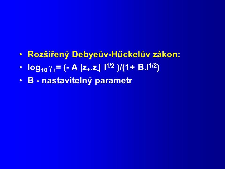 Rozšířený Debyeův-Hückelův zákon: log 10   = (- A |z +.z - | I 1/2 )/(1+ B.I 1/2 ) B - nastavitelný parametr
