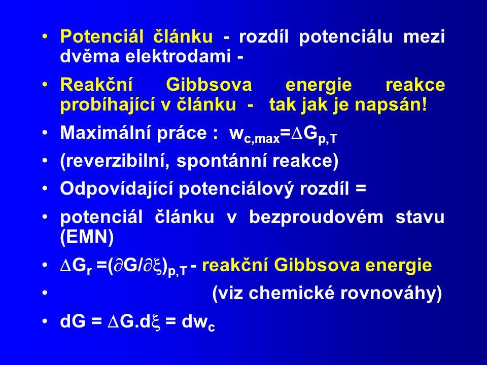 Potenciál článku - rozdíl potenciálu mezi dvěma elektrodami - Reakční Gibbsova energie reakce probíhající v článku - tak jak je napsán.