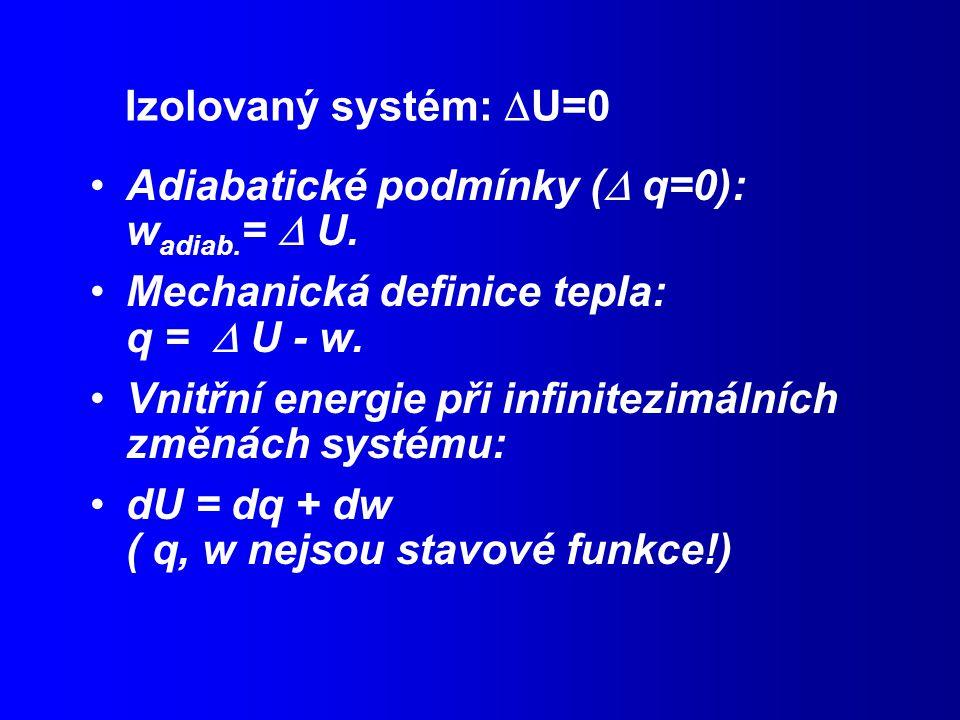 Izolovaný systém:  U=0 Adiabatické podmínky (  q=0): w adiab.