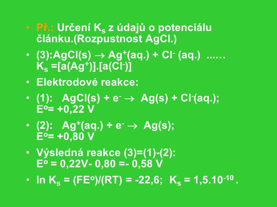 Př.: Určení K s z údajů o potenciálu článku.(Rozpustnost AgCl.) (3):AgCl(s)  Ag + (aq.) + Cl - (aq.)...… K s =[a(Ag + )].[a(Cl - )] Elektrodové reakce: (1): AgCl(s) + e -  Ag(s) + Cl - (aq.); E o = +0,22 V (2): Ag + (aq.) + e -  Ag(s); E o = +0,80 V Výsledná reakce (3)=(1)-(2): E o = 0,22V- 0,80 =- 0,58 V ln K s = (FE o )/(RT) = -22,6; K s = 1,5.10 -10.
