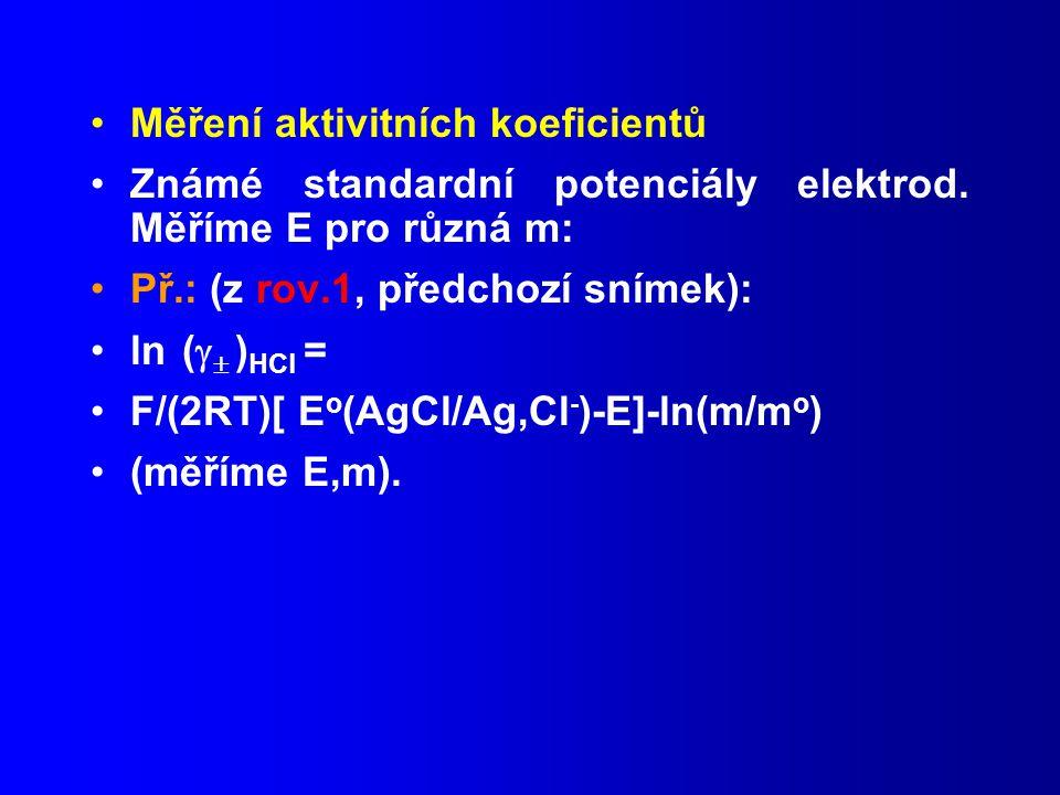 Měření aktivitních koeficientů Známé standardní potenciály elektrod.