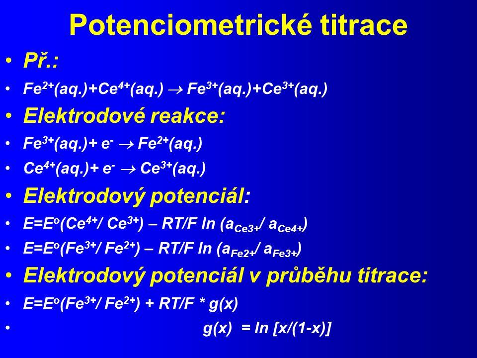 Potenciometrické titrace Př.: Fe 2+ (aq.)+Ce 4+ (aq.)  Fe 3+ (aq.)+Ce 3+ (aq.) Elektrodové reakce: Fe 3+ (aq.)+ e -  Fe 2+ (aq.) Ce 4+ (aq.)+ e -  Ce 3+ (aq.) Elektrodový potenciál: E=E o (Ce 4+ / Ce 3+ ) – RT/F ln (a Ce3+ / a Ce4+ ) E=E o (Fe 3+ / Fe 2+ ) – RT/F ln (a Fe2+ / a Fe3+ ) Elektrodový potenciál v průběhu titrace: E=E o (Fe 3+ / Fe 2+ ) + RT/F * g(x) g(x) = ln [x/(1-x)]