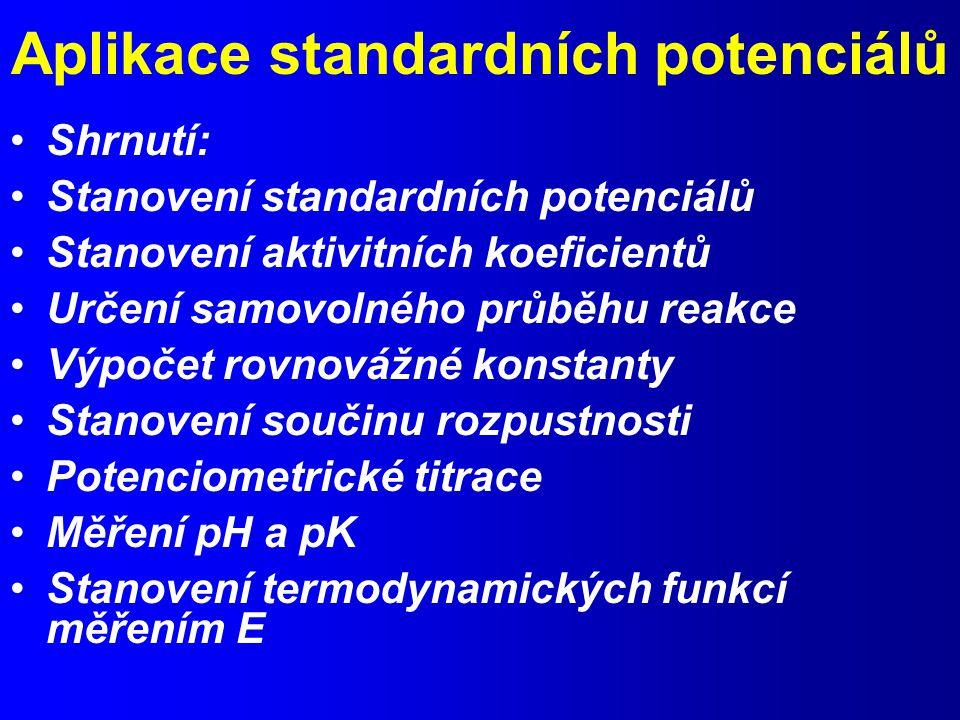 Aplikace standardních potenciálů Shrnutí: Stanovení standardních potenciálů Stanovení aktivitních koeficientů Určení samovolného průběhu reakce Výpočet rovnovážné konstanty Stanovení součinu rozpustnosti Potenciometrické titrace Měření pH a pK Stanovení termodynamických funkcí měřením E