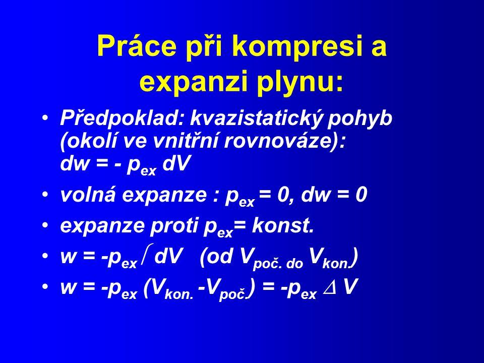 Práce při kompresi a expanzi plynu: Předpoklad: kvazistatický pohyb (okolí ve vnitřní rovnováze): dw = - p ex dV volná expanze : p ex = 0, dw = 0 expanze proti p ex = konst.