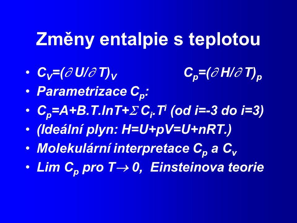 Změny entalpie s teplotou C V =(  U/  T) V C p =(  H/  T) p Parametrizace C p : C p =A+B.T.lnT+  C i.T i (od i=-3 do i=3) (Ideální plyn: H=U+pV=U+nRT.) Molekulární interpretace C p a C v Lim C p pro T  0, Einsteinova teorie
