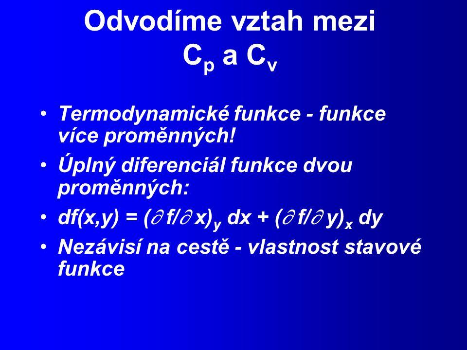 Odvodíme vztah mezi C p a C v Termodynamické funkce - funkce více proměnných.