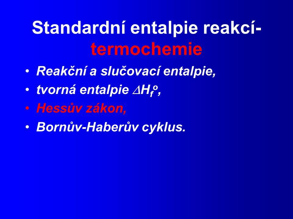 Standardní entalpie reakcí- termochemie Reakční a slučovací entalpie, tvorná entalpie  H f o, Hessův zákon, Bornův-Haberův cyklus.