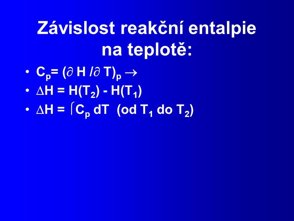 Závislost reakční entalpie na teplotě: C p = (  H /  T) p   H = H(T 2 ) - H(T 1 )  H =  C p dT (od T 1 do T 2 )