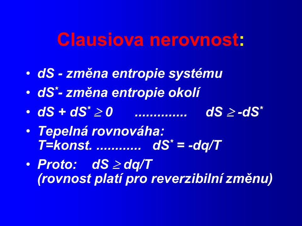Clausiova nerovnost: dS - změna entropie systému dS * - změna entropie okolí dS + dS *  0..............