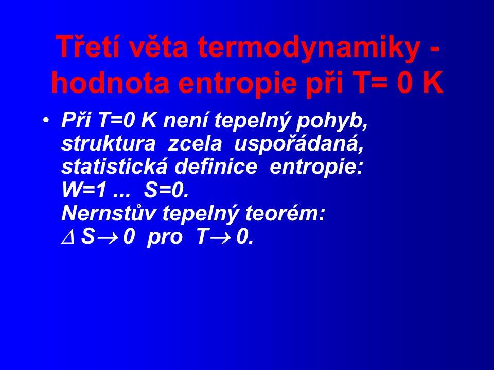 Třetí věta termodynamiky - hodnota entropie při T= 0 K Při T=0 K není tepelný pohyb, struktura zcela uspořádaná, statistická definice entropie: W=1...