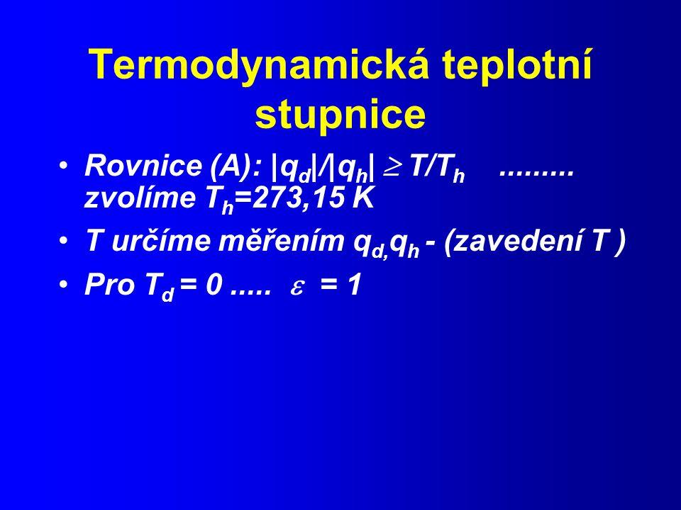 Termodynamická teplotní stupnice Rovnice (A): |q d |/|q h |  T/T h.........