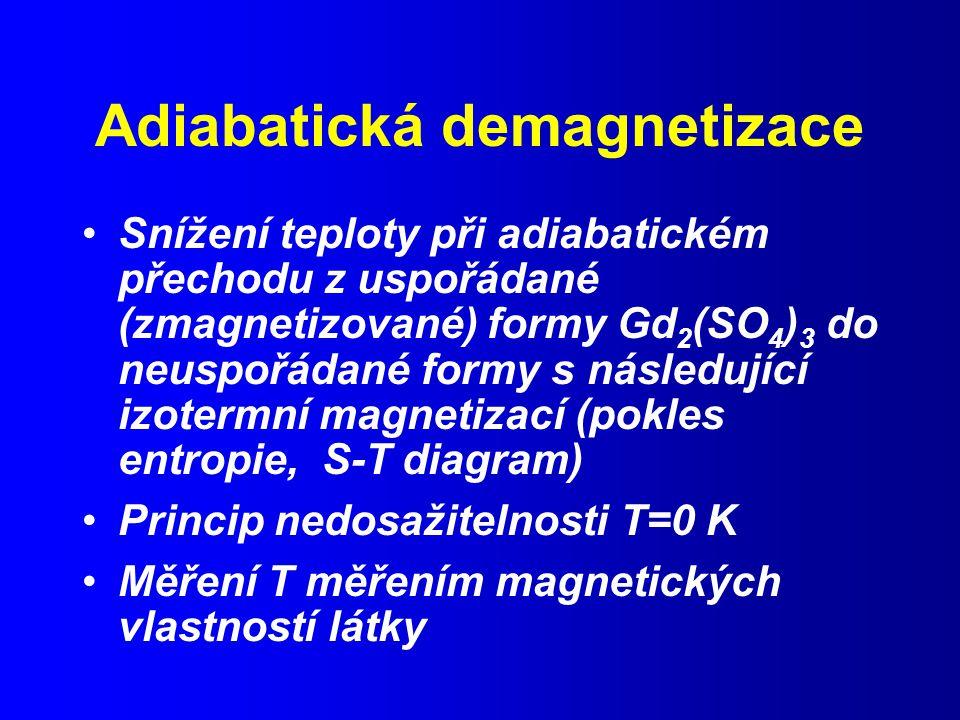 Adiabatická demagnetizace Snížení teploty při adiabatickém přechodu z uspořádané (zmagnetizované) formy Gd 2 (SO 4 ) 3 do neuspořádané formy s následující izotermní magnetizací (pokles entropie, S-T diagram) Princip nedosažitelnosti T=0 K Měření T měřením magnetických vlastností látky