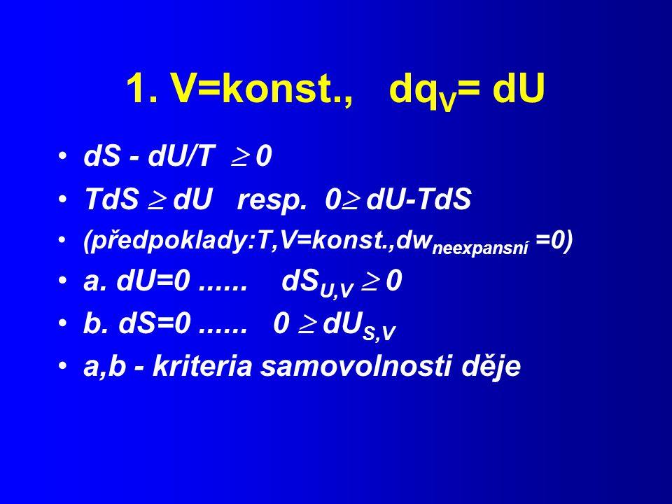 1.V=konst., dq V = dU dS - dU/T  0 TdS  dU resp.