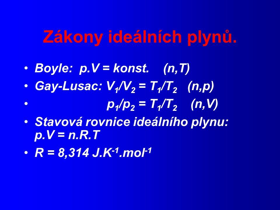 Princip korespondujících stavů Obecná metoda srovnávání veličin: relativní stupnice Redukované proměnné: p r = p/p c, V r = V/V c, T r =T/T c Dosazením za p,V,T do van der Waalsovy rovnice: Redukovaná van der Waalsova rovnice: p r = 8T r /(3V r -1) - 3/(V r ) 2