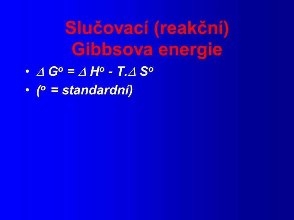 Slučovací (reakční) Gibbsova energie  G o =  H o - T.  S o ( o = standardní)