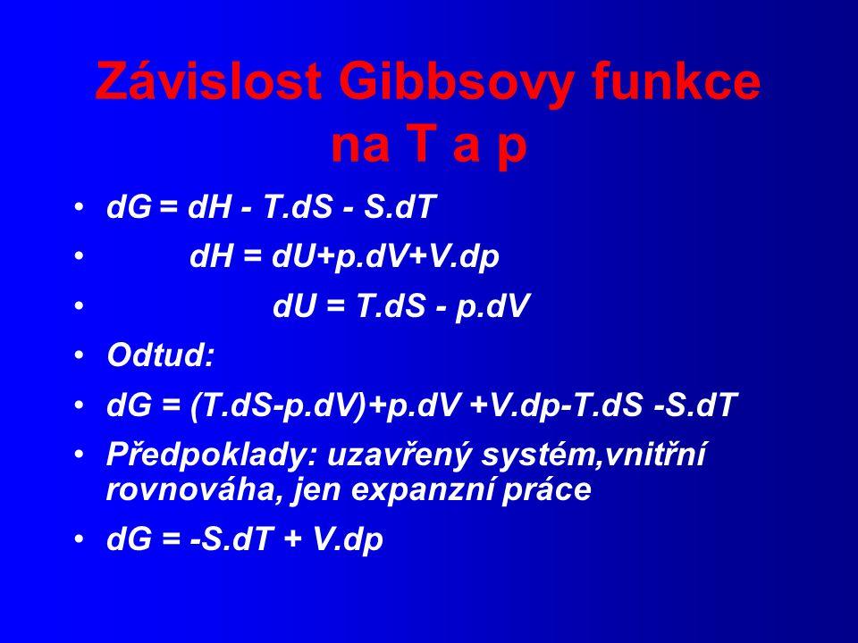 Závislost Gibbsovy funkce na T a p dG = dH - T.dS - S.dT dH = dU+p.dV+V.dp dU = T.dS - p.dV Odtud: dG = (T.dS-p.dV)+p.dV +V.dp-T.dS -S.dT Předpoklady: uzavřený systém,vnitřní rovnováha, jen expanzní práce dG = -S.dT + V.dp