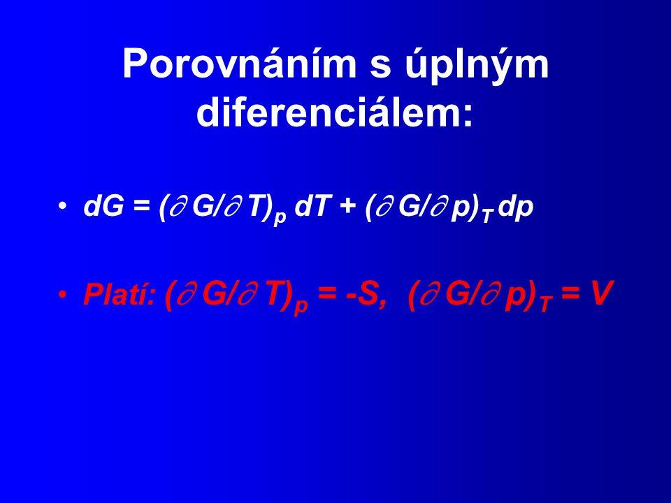 Porovnáním s úplným diferenciálem: dG = (  G/  T) p dT + (  G/  p) T dp Platí: (  G/  T) p = -S, (  G/  p) T = V