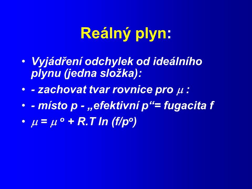 """Reálný plyn: Vyjádření odchylek od ideálního plynu (jedna složka): - zachovat tvar rovnice pro  : - místo p - """"efektivní p = fugacita f  =  o + R.T ln (f/p o )"""