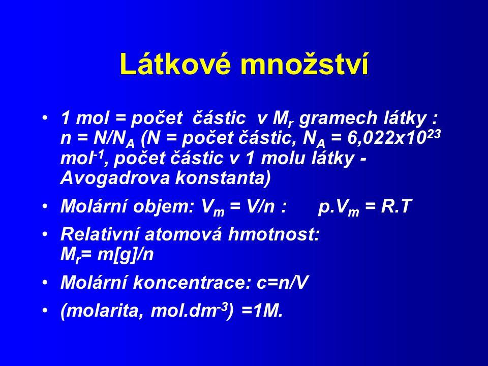 Látkové množství 1 mol = počet částic v M r gramech látky : n = N/N A (N = počet částic, N A = 6,022x10 23 mol -1, počet částic v 1 molu látky - Avogadrova konstanta) Molární objem: V m = V/n : p.V m = R.T Relativní atomová hmotnost: M r = m[g]/n Molární koncentrace: c=n/V (molarita, mol.dm -3 ) =1M.