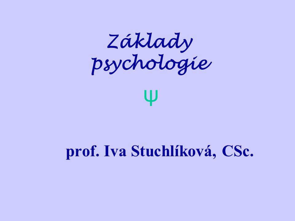 Základy psychologie prof. Iva Stuchlíková, CSc. ψ