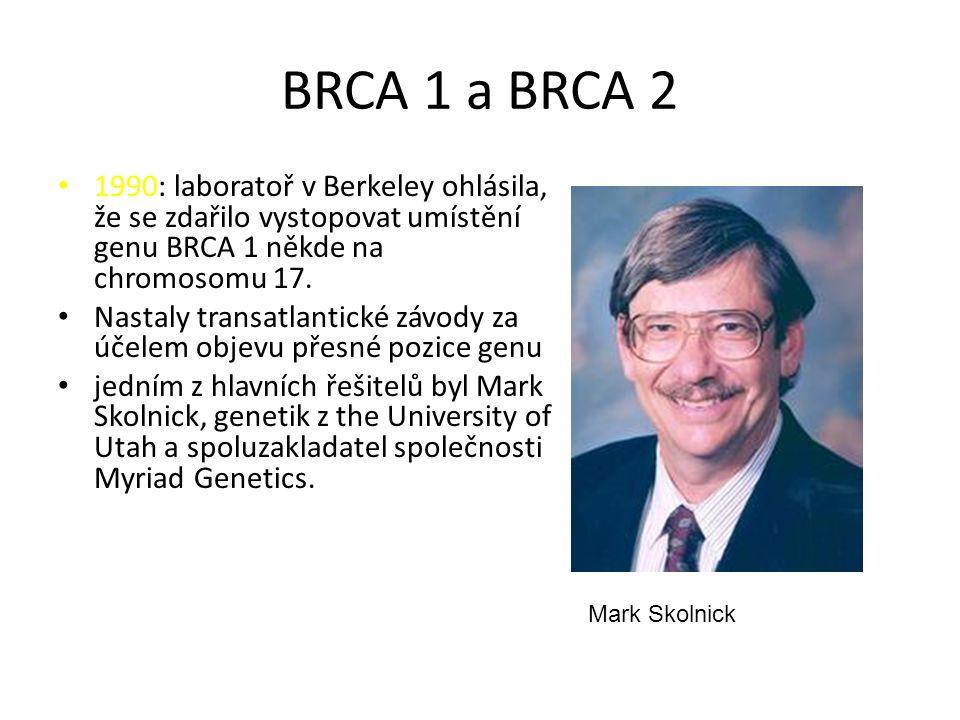 BRCA 1 a BRCA 2 1990: laboratoř v Berkeley ohlásila, že se zdařilo vystopovat umístění genu BRCA 1 někde na chromosomu 17.