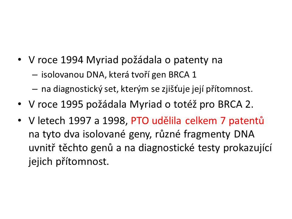 V roce 1994 Myriad požádala o patenty na – isolovanou DNA, která tvoří gen BRCA 1 – na diagnostický set, kterým se zjišťuje její přítomnost.