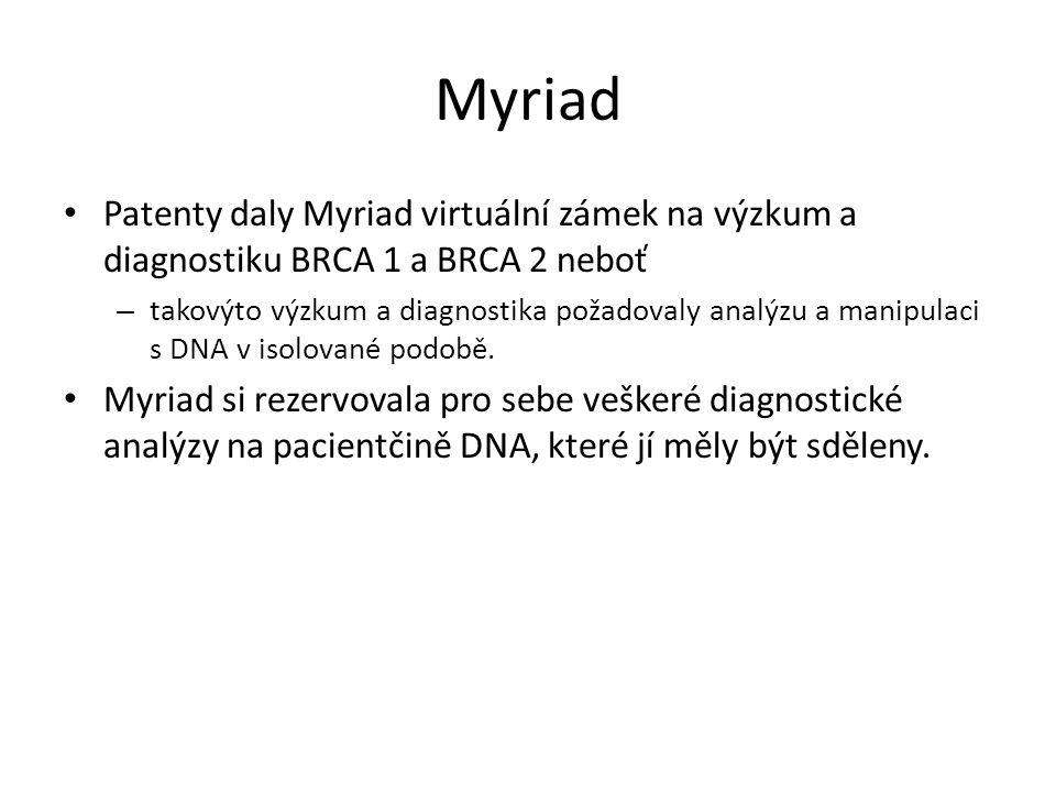 Myriad Patenty daly Myriad virtuální zámek na výzkum a diagnostiku BRCA 1 a BRCA 2 neboť – takovýto výzkum a diagnostika požadovaly analýzu a manipulaci s DNA v isolované podobě.