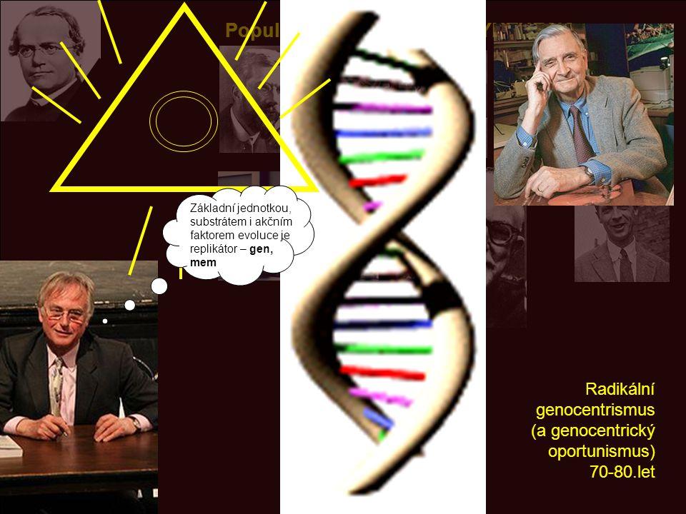 Populační genetika: NEW SYNTHESIS Radikální genocentrismus (a genocentrický oportunismus) 70-80.let Základní jednotkou, substrátem i akčním faktorem evoluce je replikátor – gen, mem