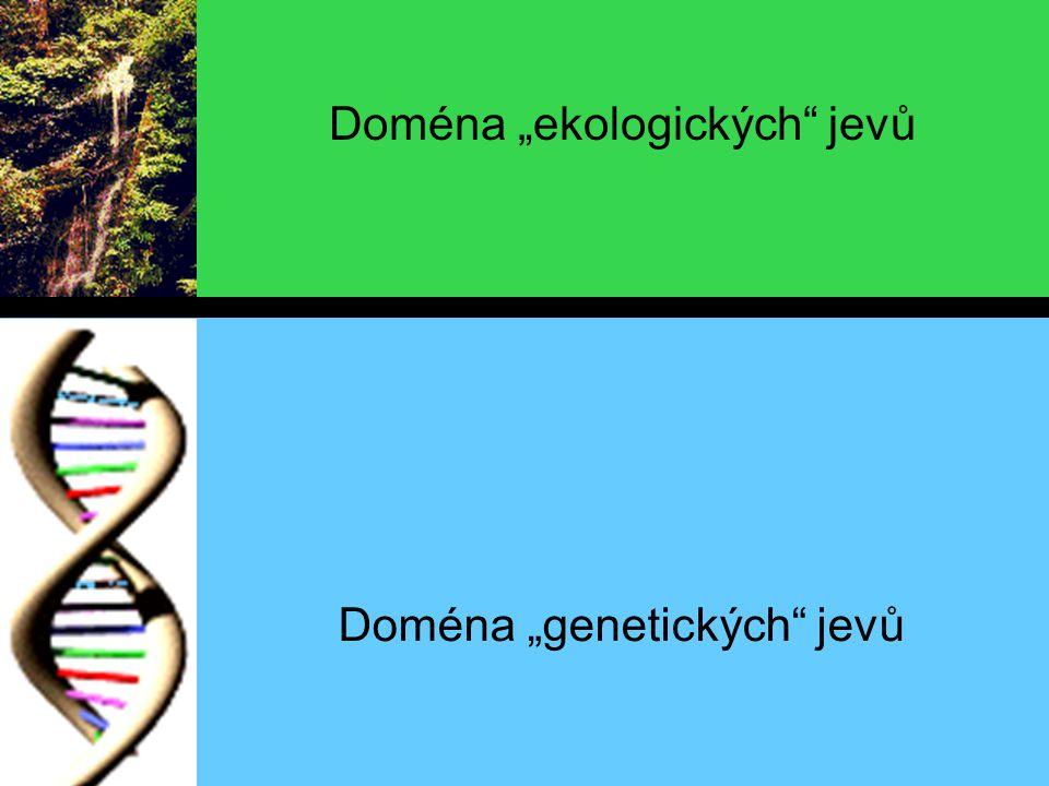 """Doména """"genetických jevů Doména """"ekologických jevů"""