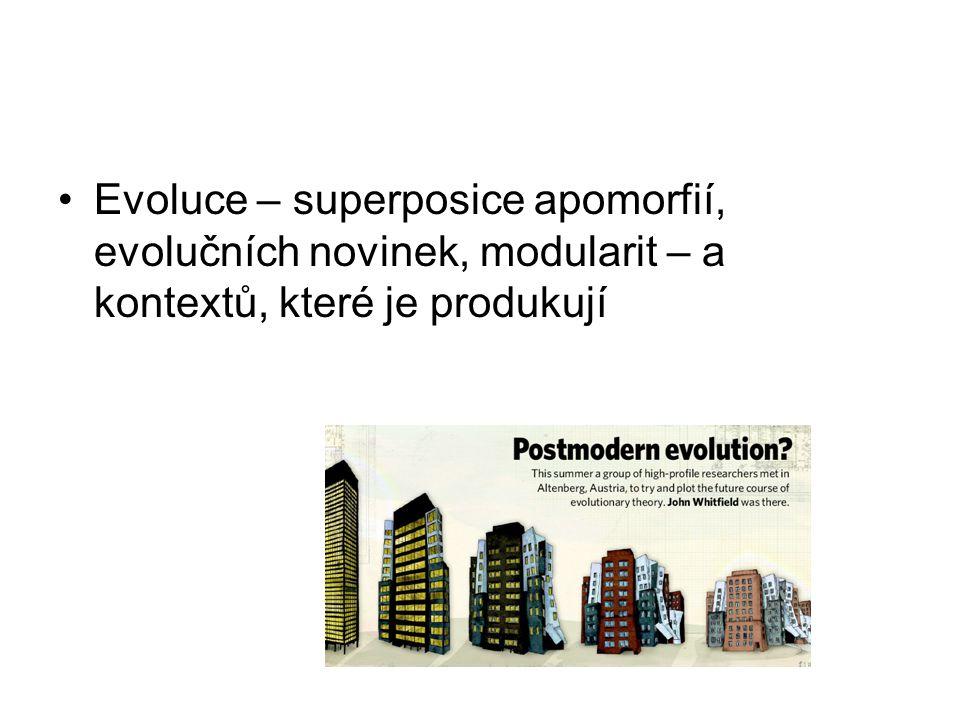 Evoluce – superposice apomorfií, evolučních novinek, modularit – a kontextů, které je produkují