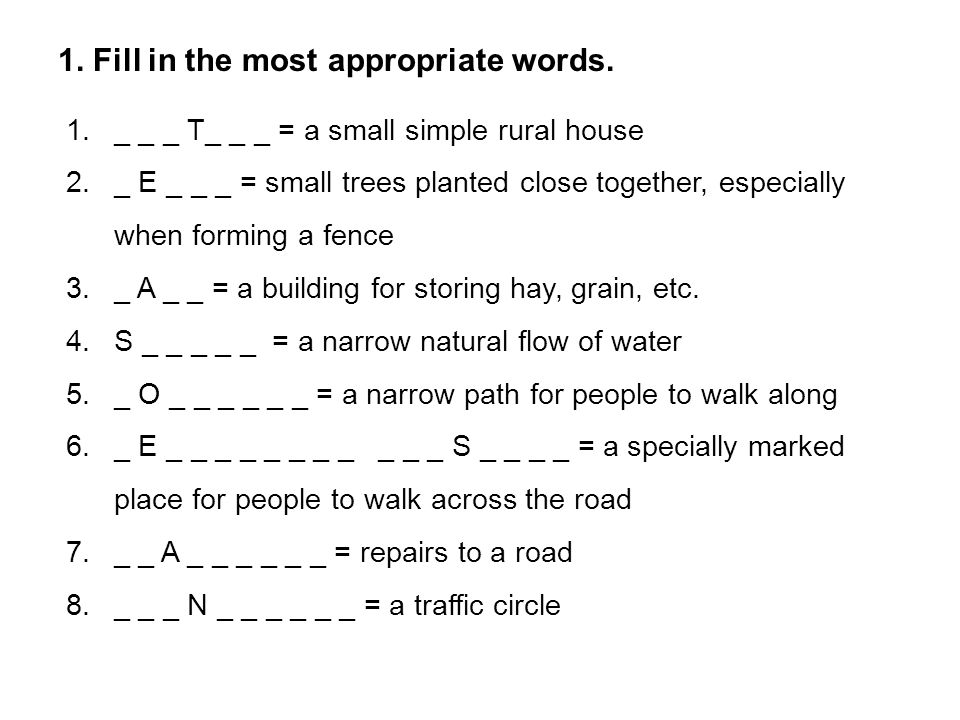 2.Complete the sentences with some words from the box.
