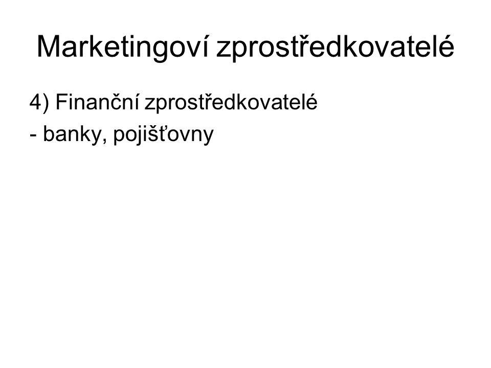 Marketingoví zprostředkovatelé 4) Finanční zprostředkovatelé - banky, pojišťovny